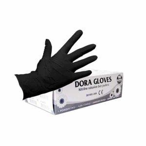 Нитрилни ръкавици 100 броя, размер М, черни
