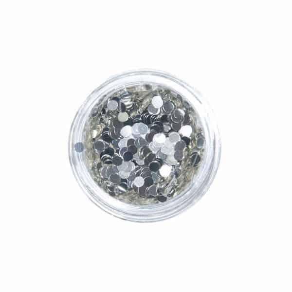 Nail Art Glitter Motiv Rund Silber M