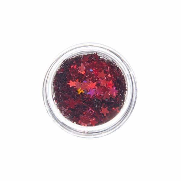Nail Art Glitter Motiv Stern Rot